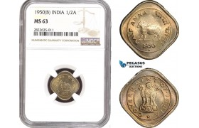 AC304-R, India, 1/2 Anna 1950 (B) Bombay, NGC MS63