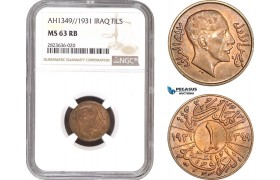 AC306, Iraq, Faisal I, 1 Fils AH1349 / 1931, London, NGC MS63RB