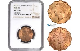 AC307, Iraq, Faisal II, 10 Fils AH1357 / 1938, London, Bronze, NGC MS64RD