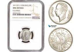 AC308, Iraq, Faisal II, 20 Fils AH1357 / 1938, London, Silver, NGC UNC Det.