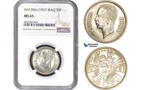 AC309, Iraq, Faisal II, 50 Fils AH1356 / 1937, London, Silver, NGC MS65