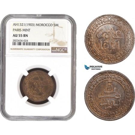 AC311, Morocco, Abd al-Aziz, 5 Muzunas AH1321 (1903) -Pa, Paris, NGC AU55BN