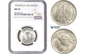 AC312-R, Poland, 2 Zlote 1924, Philadelphia, Silver, NGC MS63, Pop 2/0