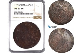 AC314, Russia, Catherine II, 5 Kopeks 1791-EM, Ekaterinburg, NGC MS62BN