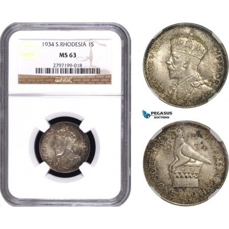 AC317, Southern Rhodesia, George V, Shilling 1934, London, Silver, NGC MS63