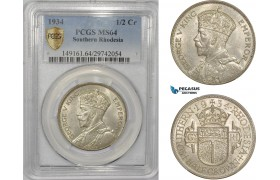 AC318, Southern Rhodesia, George V, 1/2 Crown 1934, London, Silver, PCGS MS64