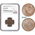 AC319, Straits Settlements, Victoria, 1/2 Cent 1884, NGC MS62BN