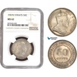 AC322, Straits Settlements, Edward VII, 50 Cents 1907-H, Heaton, Silver, NGC MS62