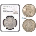 AC323, Straits Settlements, Edward VII, Dollar 1904-B, Bombay, Silver, NGC MS62
