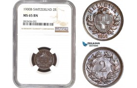 AC325, Switzerland, 2 Rappen 1900-B, Bern, NGC MS65BN, Pop 2/0