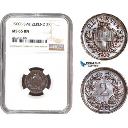 AC325, Switzerland, 2 Rappen 1900-B, Bern, NGC MS65BN, Pop 2/0