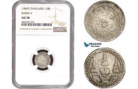 AC329-R, Thailand, Rama V, 1/8 Baht 1869, Silver, NGC AU58