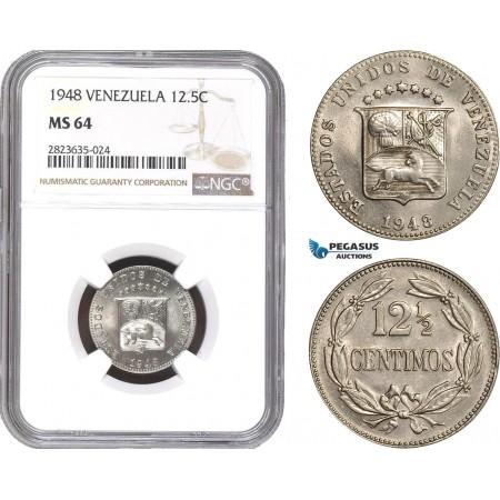 AC332-R, Venezuela, 12 1/2 Centimos 1948, NGC MS64
