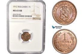 AC334, Bulgaria, Ferdinand I, 1 Stotinka 1912, NGC MS65RB, Pop 1/0