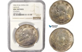 "AC345, China ""Fat Man"" Dollar Yr. 3 (1914) Silver, L&M-63, NGC UNC Det."