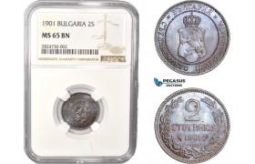 AC335, Bulgaria, Ferdinand I, 2 Stotinki 1901, NGC MS65BN, Pop 1/0
