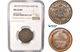 AC336, Bulgaria, Alexander I, 5 Stotinki 1881, Heaton, NGC MS64BN