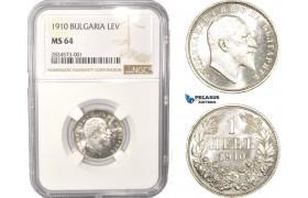 AC337, Bulgaria, Ferdinand I, 1 Lev 1910, Silver, NGC MS64