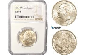 AC338, Bulgaria, Ferdinand I, 2 Leva 1912, Silver, NGC MS60
