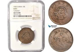 """AC341, China, Kirin, 10 Cash 1903 """"Cashes"""" NGC AU53BN"""