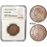 AC348, Cyprus, Victoria, 1/2 Piastre 1885, London, NGC MS63BN, Pop 4/0