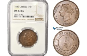 AC348, Cyprus, Victoria, 1/2 Piastre 1885, London, NGC MS63BN, Pop 4/0