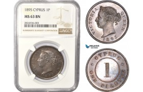 AC349, Cyprus, Victoria, 1 Piastre 1895, London, NGC MS63BN (Semi PL) Pop 1/1, Rare!