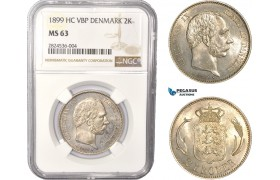 AC350, Denmark, Christian IX, 2 Kroner 1899, Copenhagen, Silver, NGC MS63, Pop 1/2