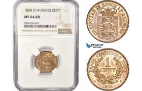 AC351, Danish West Indies, Christian IX, 1 Cent 1868, Altona, NGC MS64RB