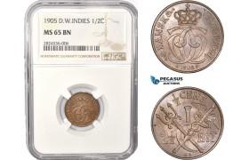 AC352, Danish West Indies, Christian IX, 2 1/2 Bit / 1/2 Cent 1905, Copenhagen, NGC MS65BN
