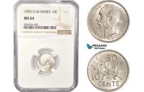 AC353, Danish West Indies, Christian IX, 10 Cents 1905, Copenhagen, Silver, NGC MS64, Pop 4/0