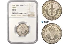 AC354, Ecuador, 2 Reales 1839 MV, Quito, Silver, NGC XF40