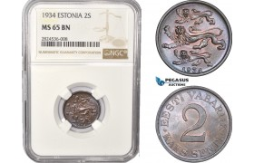 AC356, Estonia, 2 Senti 1934, NGC MS65BN, Pop 6/1