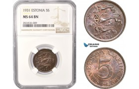 AC357, Estonia, 5 Senti 1931, NGC MS64BN