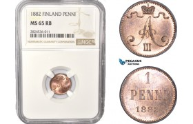 AC358, Finland (under Russia) Alexander III, 1 Penni 1882, NGC MS65RB, Pop 1/0, Rare!