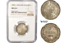AC359, Finland (under Russia) Alexander III, 1 Markka 1892 L, Silver, NGC MS63+