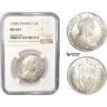 AC360, France, Louis XIV, 1/2 Ecu 1650-A, Paris, Silver, NGC MS62+, Pop 1/0