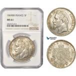 AC368, France, Napoleon III, 5 Francs 1869-BB, Strasbourg, Silver, NGC MS61
