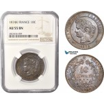 AC369, France, Third Republic, 10 Centimes 1874-K, Bordeaux, NGC AU55BN, Pop 1/0