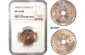 AC372, French Indo-China, 1 Centime 1910-A, Paris, NGC MS64RB