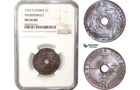 AC373, French Indo-China, 1 Centime 1923 Thunderbolt, Poissy, NGC MS66BN, Top Pop