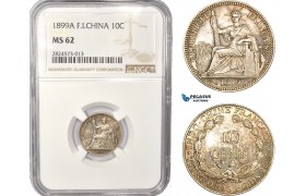AC375, French Indo-China, 10 Centimes 1899-A, Paris, Silver, NGC MS62