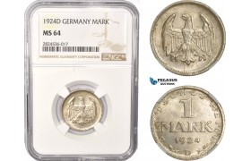 AC376, Germany, Weimar, 1 Mark 1924-D, Munich, Silver, NGC MS64
