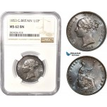 AC378, Great Britain, Victoria, 1/2 Penny 1853, London, NGC MS62BN