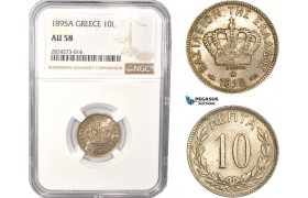 AC380, Greece, George I, 10 Lepta 1895-A, Paris, NGC AU58