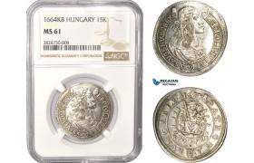 AC383, Hungary, Leopold I, 15 Krajczar 1664-KB, Kremnitz, Silver, NGC MS61