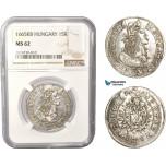 AC384, Hungary, Leopold I, 15 Krajczar 1665-KB, Kremnitz, Silver, NGC MS62