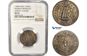 AC385, India (EIC) Madras Presidency, 1/4 Pagoda ND (1808) Silver, Garter 18 Stars, NGC MS62