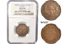 AC386, India (East India Company) 1/4 Anna 1858-W, NGC MS64BN