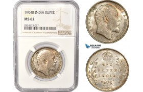 AC387, India (British) Edward VII, 1 Rupee 1904-B, Bombay, Silver, NGC MS62